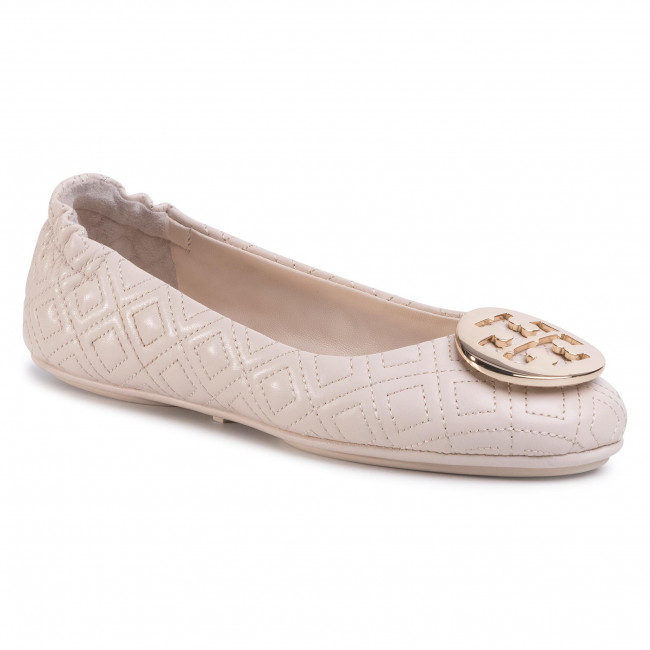 Ballerinaskor TORY BURCH Quilted Minnie 50736 New CreamGold 122