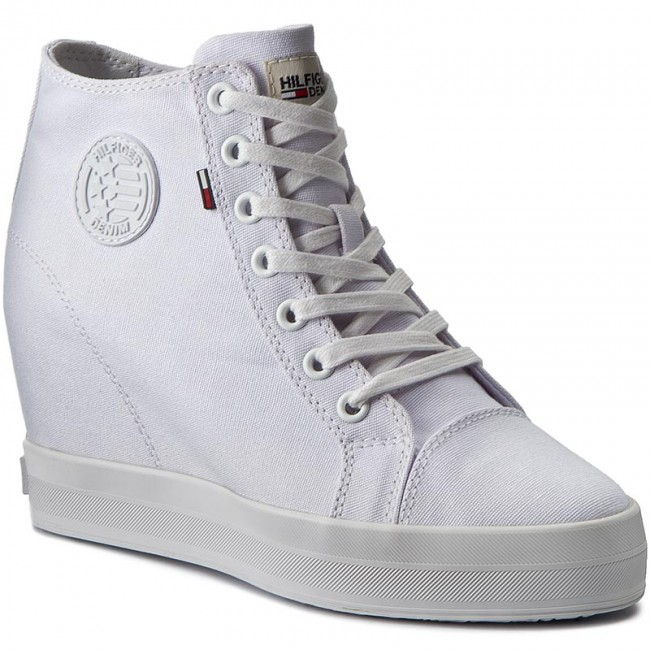 Sneakers TOMMY HILFIGER - DENIM Nice Wedge 1D1 FW0FW00936 White 100