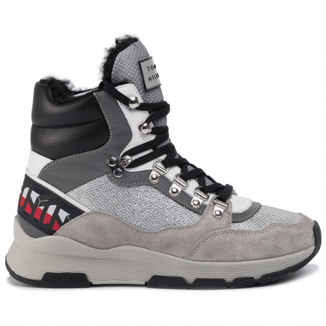 Sneakers TOMMY HILFIGER Tommy Sparkle Sporty Boot FW0FW04635 Metallic Silver 0K4