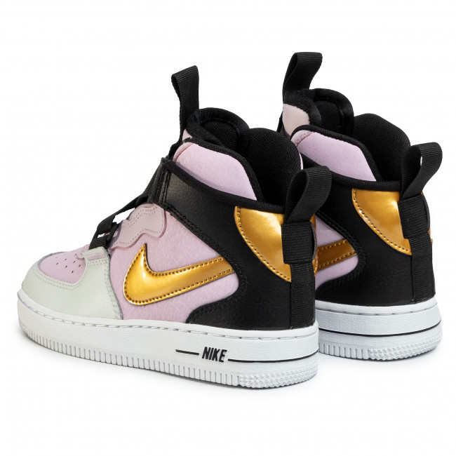 Skor NIKE Force 1 Highness (Ps) BQ3599 500 Iced LilacMetallic GoldBlack