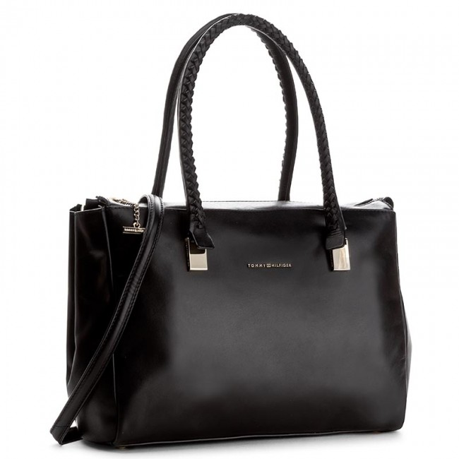 Handväska TOMMY HILFIGER - Effortless Leather Tote AW0AW03899 002